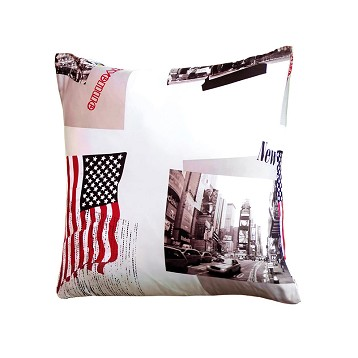 "Cojín ""New York Time"" Microfibra 50x50 cm"